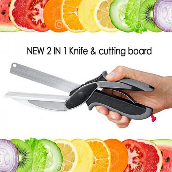 Кухонный нож - ножницы Clever Cutter для резки продуктов 2 в 1