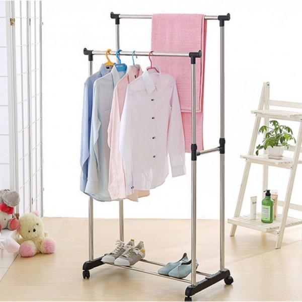 Двойная напольная передвижная стойка для одежды Double-Pole