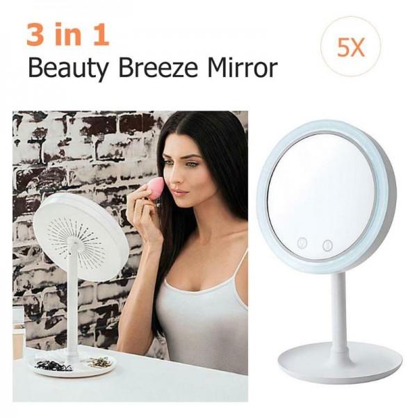 Зеркало для макияжа Beauty Breeze Mirror с подсветкой и встроенным вентилятором