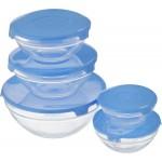 Набор стеклянных мисок (салатников) с крышками
