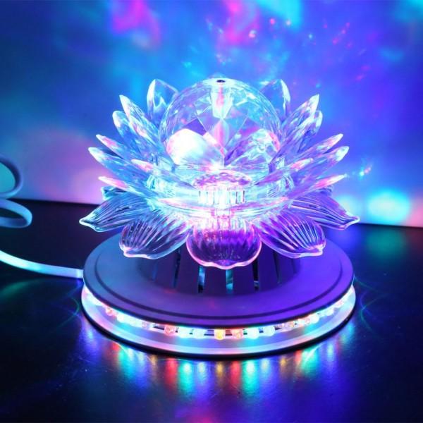 Вращающаяся  LED lamp Хрустальный цветок лотоса