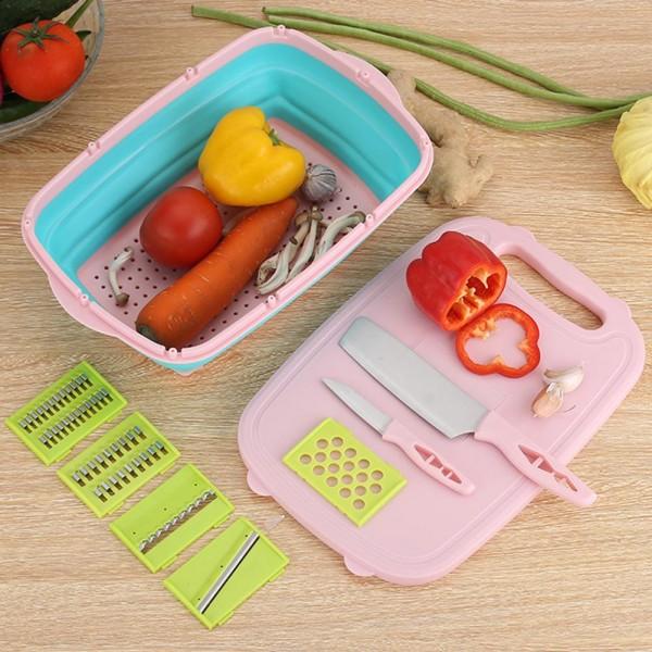 Кухонный набор 9 в 1 овощерезка + корзина для сушки овощей + разделочная доска